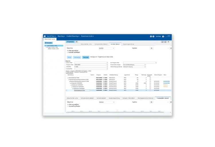 Traceability Lösung von Forcam. Exemplarischer Ausschnitt der Software.