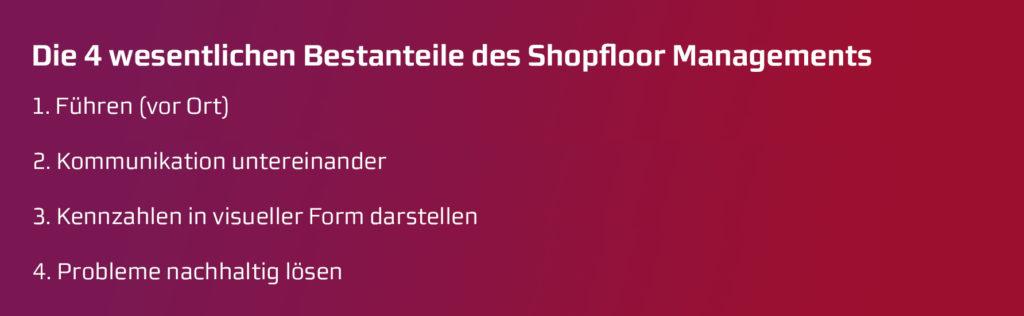 Die vier Bestandteile des Shopfloor Managements